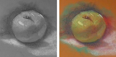the image on the left has been converted to black & white to show the relationship of value and color