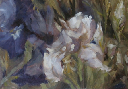 "Irises - plein air, 7x10"" pil on canvas pad"