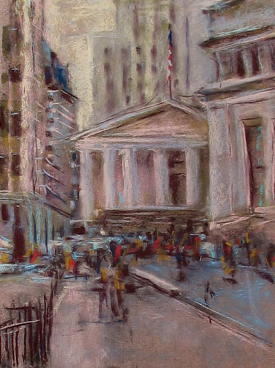 "pastel study on Wallis paper, about 9x12"", Wall Street"