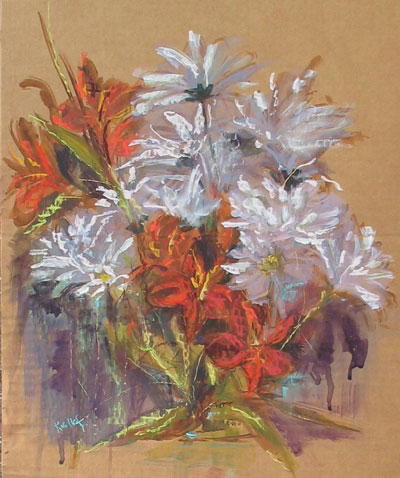 flower study, acrylic and pastel on corrugated cardooard, 16x20""