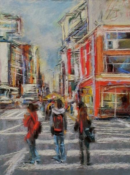 "urban landscape study, pastel, 9x12"" on Richeson sanded paper"