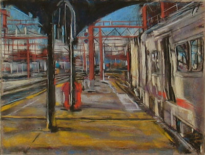 "NJ Transit Train Yard, Hoboken - pastel, about 11x14"" on Wallis paper"