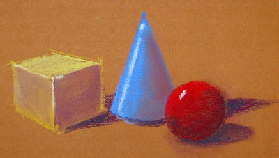 form studies, pastel on paper