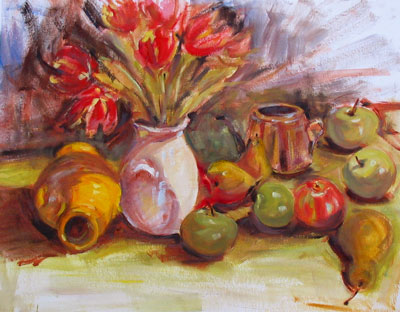 still life study, oil on watercolor paper, about 18x24