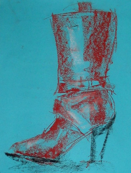 leather boot, pastel on construction paper