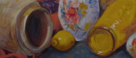 still life cropped at midsection, repeating ellipses and colors make interesting abstract study