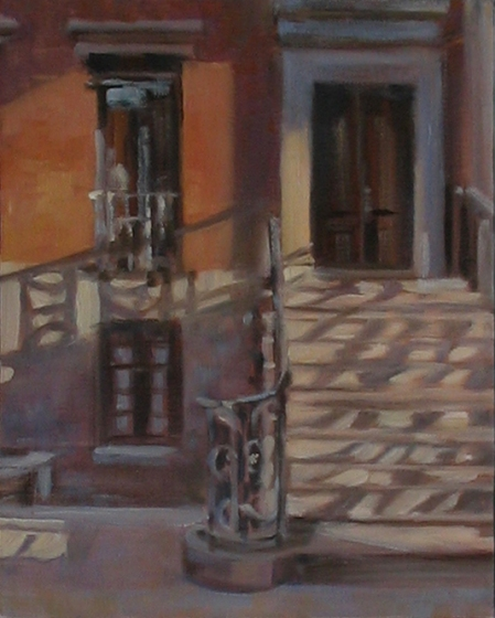 Doorway, West 11th Street, oil on canvas, 8x10""