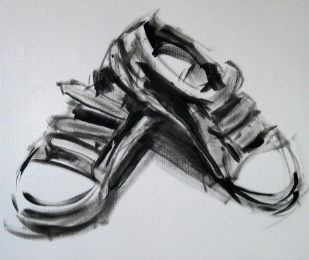 sneakers, acryilc on paper