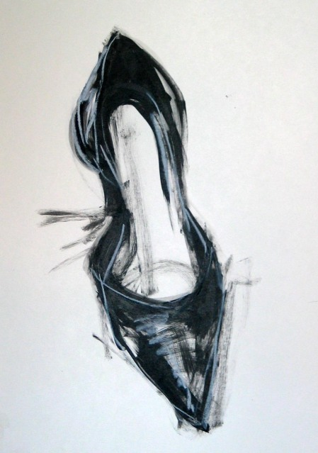 shoe, acrylic and white charcoal on bristol board