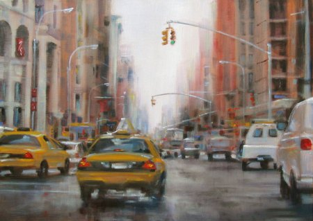Taxi in the Rain, oil on canvas