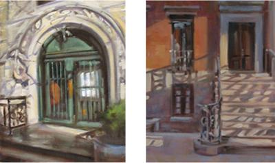 Doorway paintings, both oil on canvas, 8x10