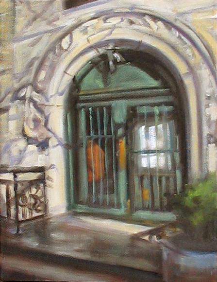 Doorway, Greenwich Village - oil on canvas, 8x10