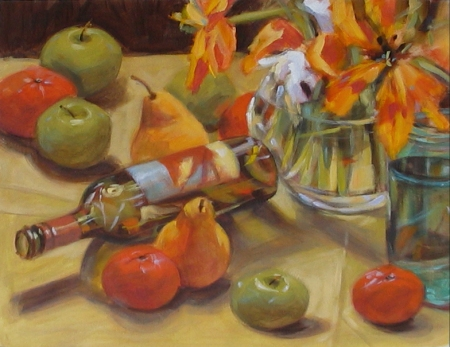 still life study, demo from last week's acrylics class finished