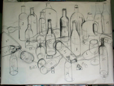"compositional study for large painting (30x40""), charcoal on newsprint"