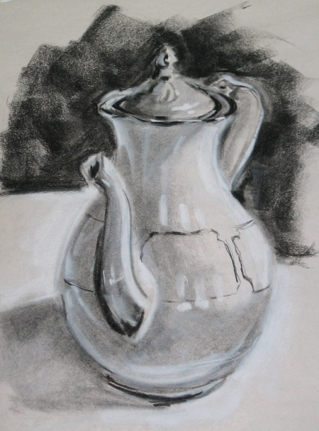 teapot study, 12x18, charcoal and pastel