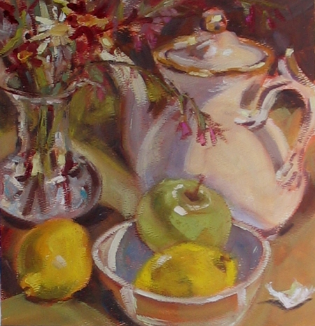 still life study, oil on watercolor paper, about 12x12""