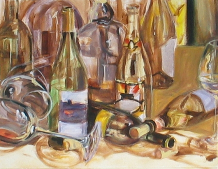 color mapping of glass bottles, 14x18 acrylic on canvas