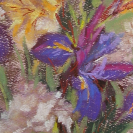 flower study, pastel on watercolor paper prepared with Art Spectrum pastel ground