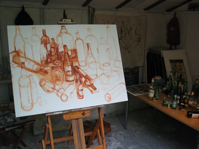 "30x40"" oil on canvas, beginning of the underpainting, burnt sienna + turpenoid"