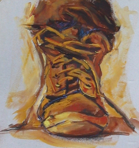 study of work boot, acrylic & pastel on cardboard, about 9x12