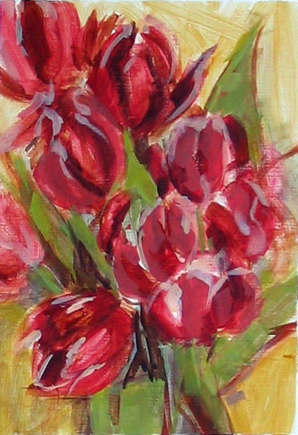 study of tulips, acrylic on paper, 9x12