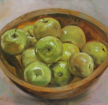 Apples in an Old Wooden Bowl, oil on canvas, 12x12