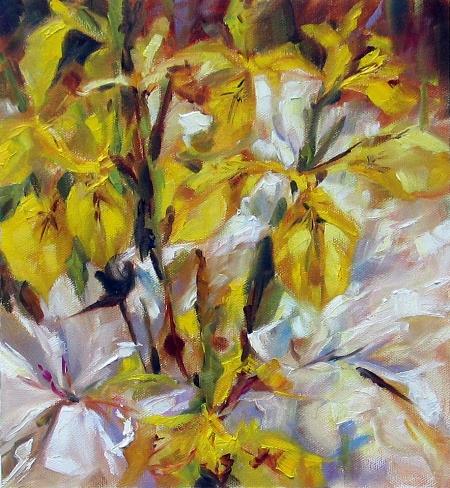 Yellow Irises, oil on canvas, 12x12