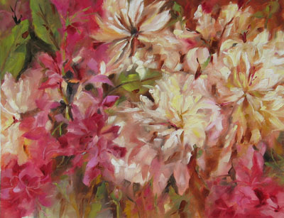 Rhododendrons & Peonies, oil on canvas, 14x18