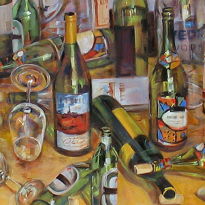 detail, wine bottles