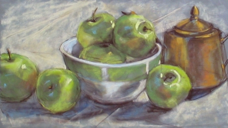 still life study, pastel on suede mat board