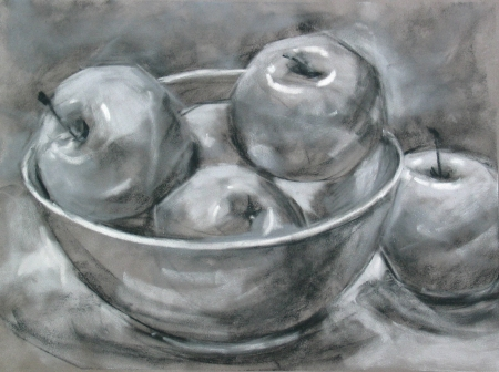 study of apples in a bowl, greyscale pastels on suede mat board