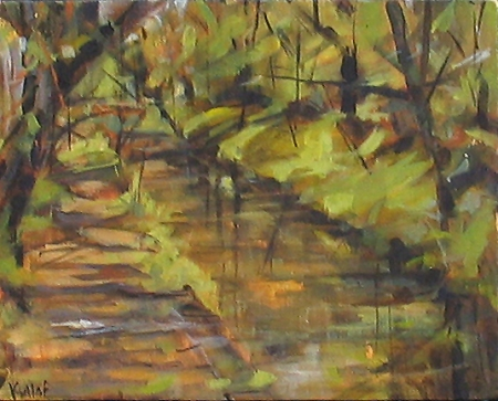 Delaware & Raritan Canal and Towpath, acrylic on canvas, 8x10