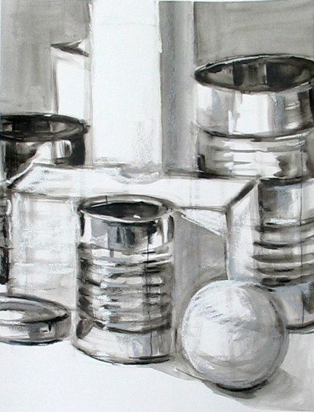 compositional study of white and metallic objects, acrylic & pastel on paper