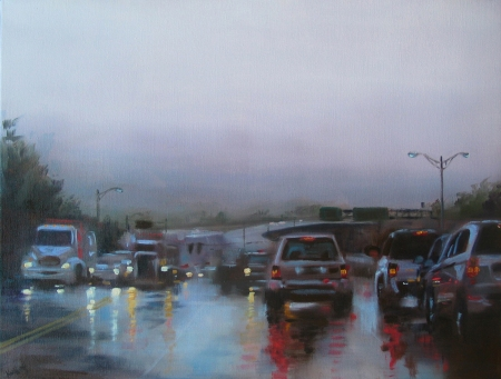 Even If It Rains..., oil on canvas by Anne Kullaf