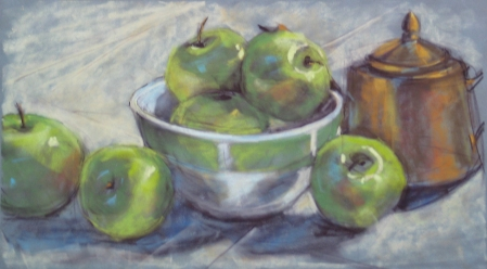 Apples & Brass Teapot, pastel by Anne Kullaf