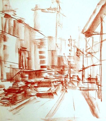 gesture drawing of urban landscape, pastel on newsprint