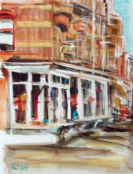 acrylic on paper, study of West 10th St. storefront