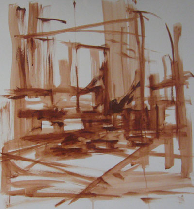 urban landscape, gesture study, acrylic on paper