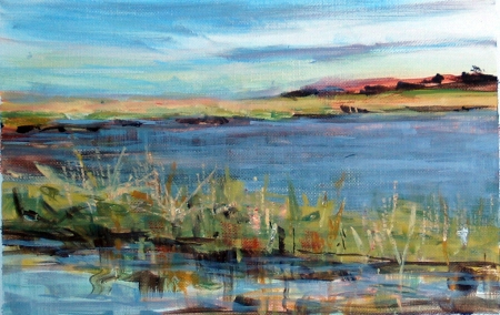 early evening light, Salt Pond, acrylic on paper, 5x8 in.