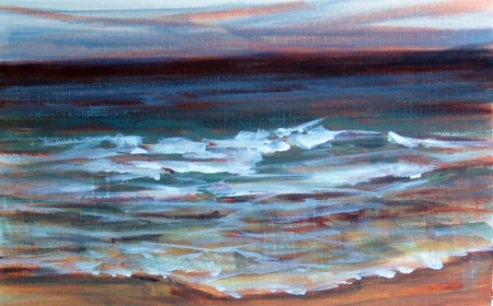 waves at Marconi Beach, gesture study, acrylic on paper, 5x8 in.