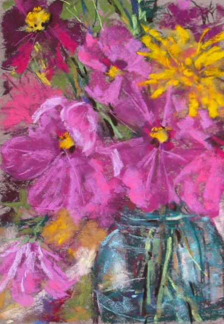 pastel study of flowers, 9x12 in.