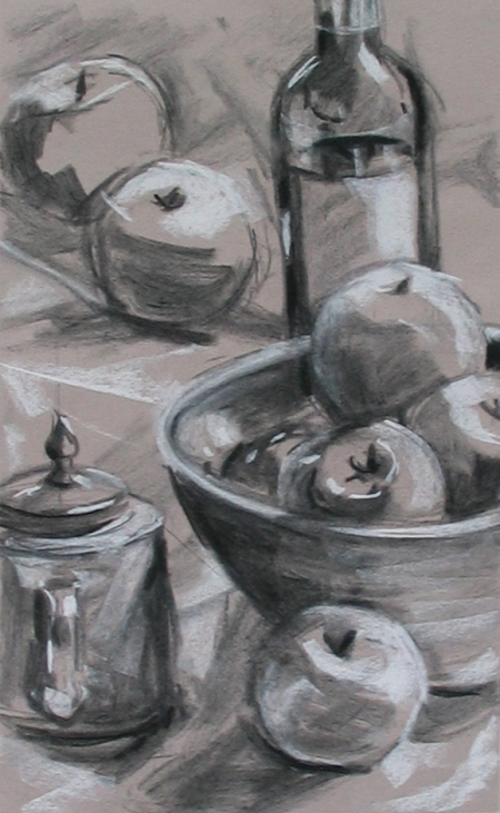 charcoal and white pastel on light grey paper, about 12x18 in.