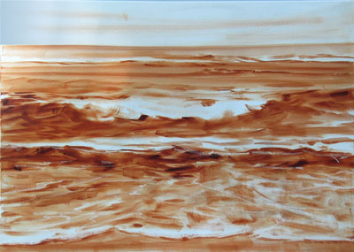 under painting, burnt sienna and turpenoid, 18x24 in.