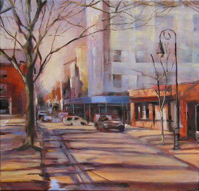 West 10th Street, oil on canvas, 20x20 in. offered for auction tonight