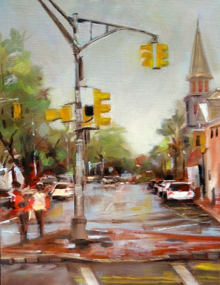 Crossing at the Green, oil on canvas, alla prima, 9x12 in.