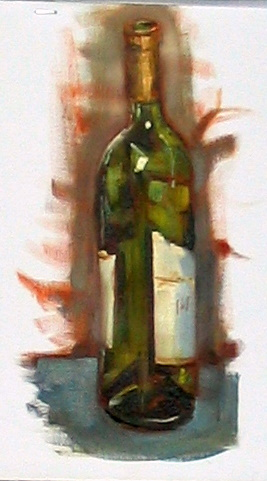 study of bottle, alla prima oil on canvas pad