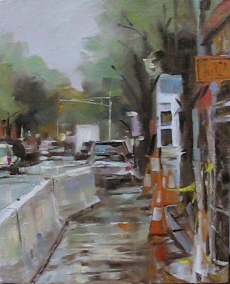 South Street Sidewalk Construction, oil on canvas, alla prima, 8x10 in.
