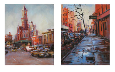 Jefferson Market Building, oil on canvas, 16x20 in. and Slippery When Wet, West 10th & 4th Streets, oil on canvas, 16x20 in. will be offered in upcoming auctions, call the Club for specific dates and times for each piece