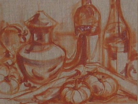 burnt sienna oil color + turpenoid underpainting