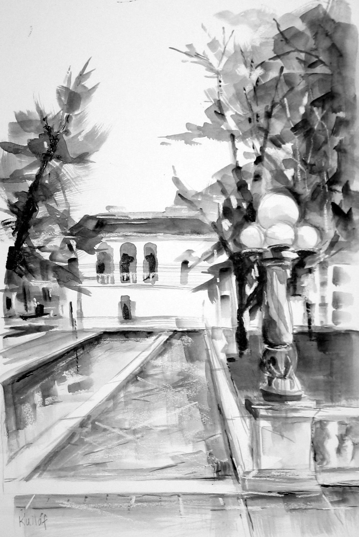 Gestural urban landscape drawings